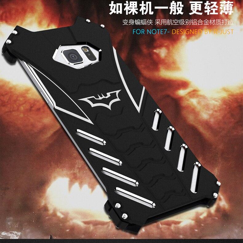 imágenes para Caso BATMAN Para Samsung Galaxy S6 S6 S7 S7 Borde borde Más nota 5 Nota 7 R-JUST Armadura Del Metal De Aluminio caso de la contraportada de Shell cubierta