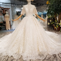 LS124711 puffy half sleeves wedding dress free shipping o neck beading lace wedding gown with train china wholesale new design