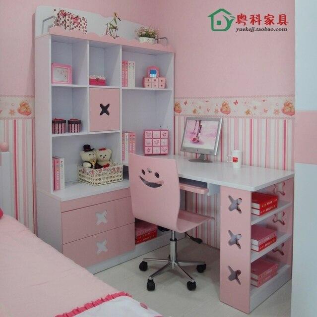 Childrenu0027s Corner Desk Cabinet Girl Korean Combination Bookcase Computer  With Table