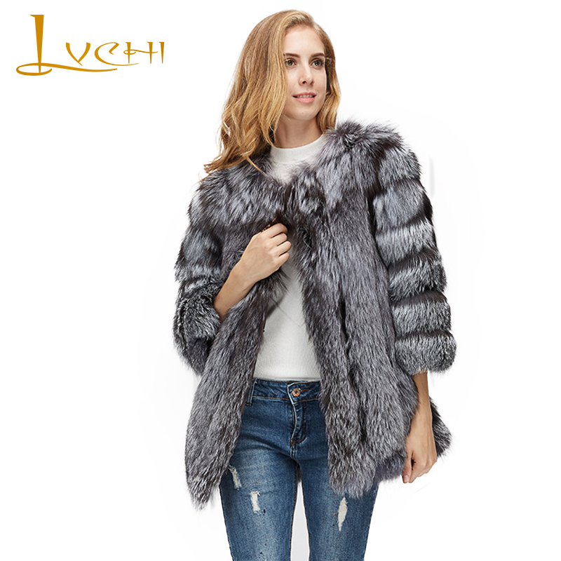 LVCHI Inverno 2017 di Colore di Contrasto Vera Pelliccia di Volpe Cappotti Rosso Sliver naturale Fox Fur Coat donna Con collo di Pelliccia Volpe Volpe Piano cappotti