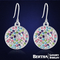 Round Color Earrings With Swarovski Elements Crystal Rhinestone High Quality Party Jewelry Earings Aretes De Mujer For Women