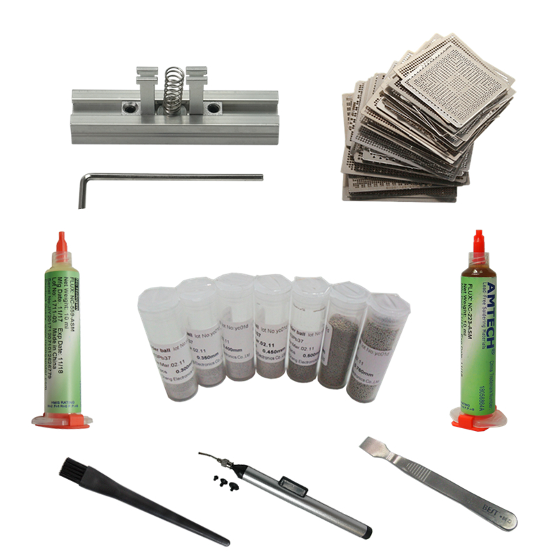 144 pcs Diretamente Aquecimento Reballing Stencils + Reballing Jig Kit Caneta De Sucção A Vácuo BGA Reballing Esferas De Solda Raspador