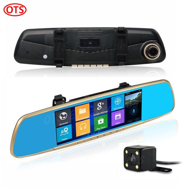7 pulgadas GPS Android de Navegación GPS Espejo DVR 1 GB RAM 16 GB ROM Cámara de Visión Trasera de Doble Cámara Hd1080p Quad-core WiFi Internet