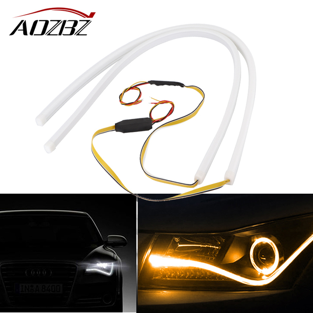 2pcs 60cm flexible car led strip light white and flowing drl angel 2pcs 60cm flexible car led strip light white and flowing drl angel eye headlight turning signal aloadofball Image collections