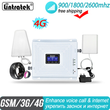 Lintratek 2g 3g 4g ثلاثي الفرقة إشارة معززة 900 1800 2600 GSM UMTS LTE DCS الفرقة 3 الفرقة 7 الخلوية مكرر مكبر للصوتSignal Booster 900 1800 2600 GSM UMTS LTE DCS BAND 3 BAND 7 Cellular Repeater Amplifier