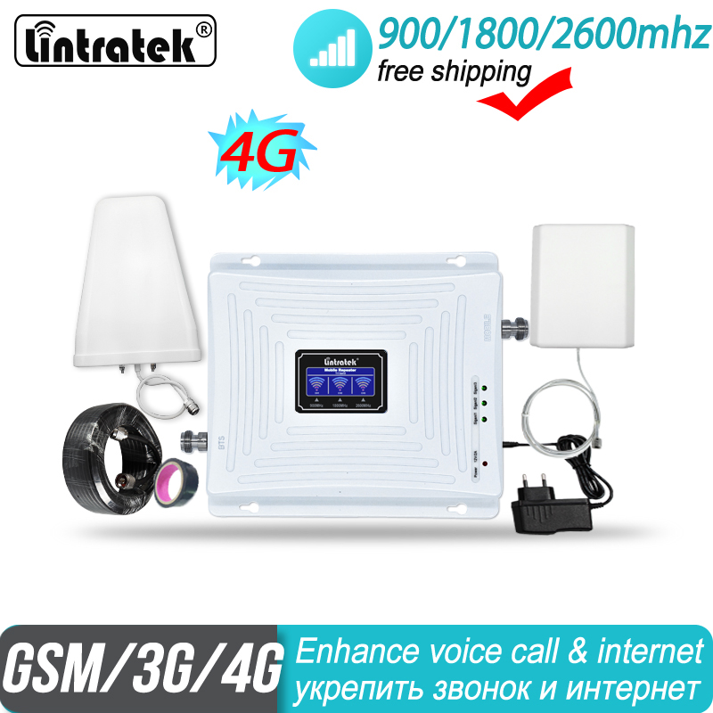 Lintratek 2g 3g 4g Tri Band Signal Booster 900 1800 2600 GSM UMTS LTE DCS BAND 3 BAND 7 FDD 2600MHz Cellular Repeater Amplifier