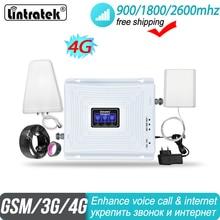 Lintratek 2g 3g 4g Tri Band sinyal güçlendirici 900 1800 2600 GSM UMTS LTE DCS BAND 3 bant 7 FDD 2600MHz hücresel tekrarlayıcı amplifikatör