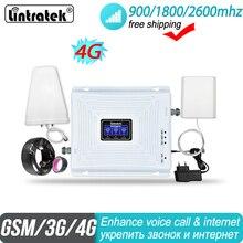 を lintratek 2 グラム 3 グラム 4 グラムトライバンド信号ブースター 900 1800 2600 gsm umts lte dcs バンド 3 バンド 7 fdd 2600 900mhz の携帯リピータアンプ