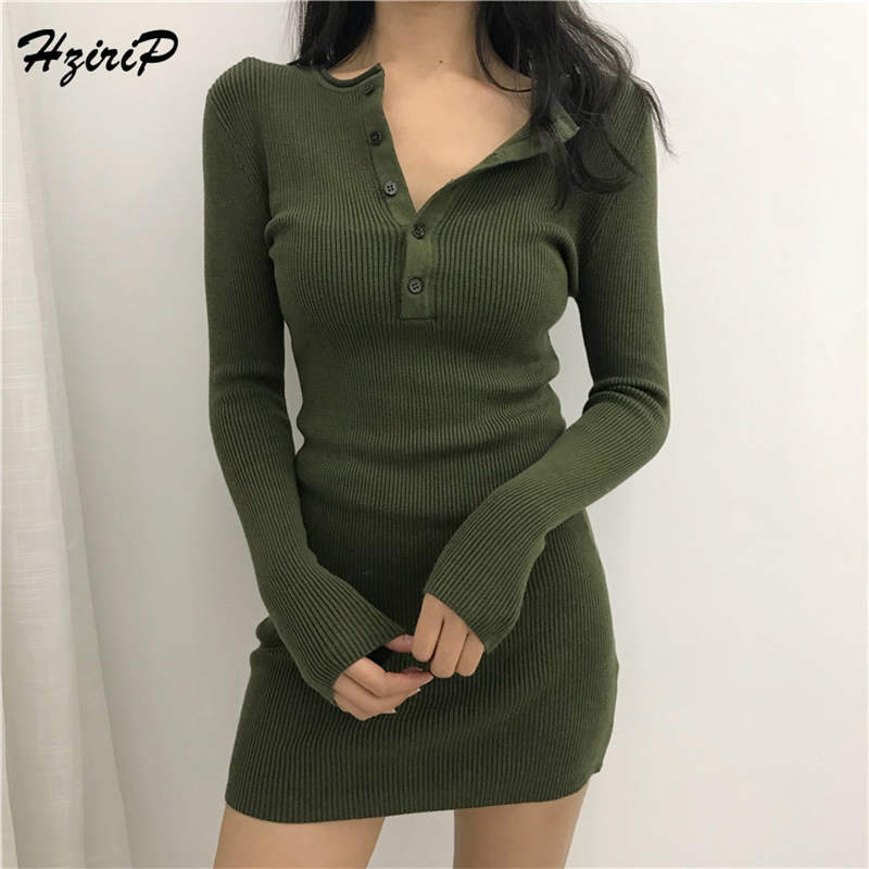HziriP 2018 Autumn  Fresh Women Sweet Sweaters Knitted Solid Pullovers Long Sleeve Fashion Female Tide  Ladies Sweater 2 Colors
