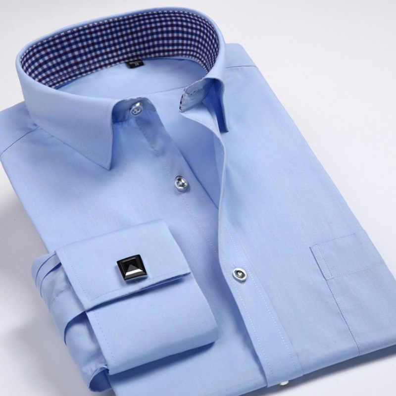 40fb39debc56864 Мужские французские запонки рубашки 2019 брендовые новые мужские рубашки с  длинным рукавом Slim Fit французские манжеты