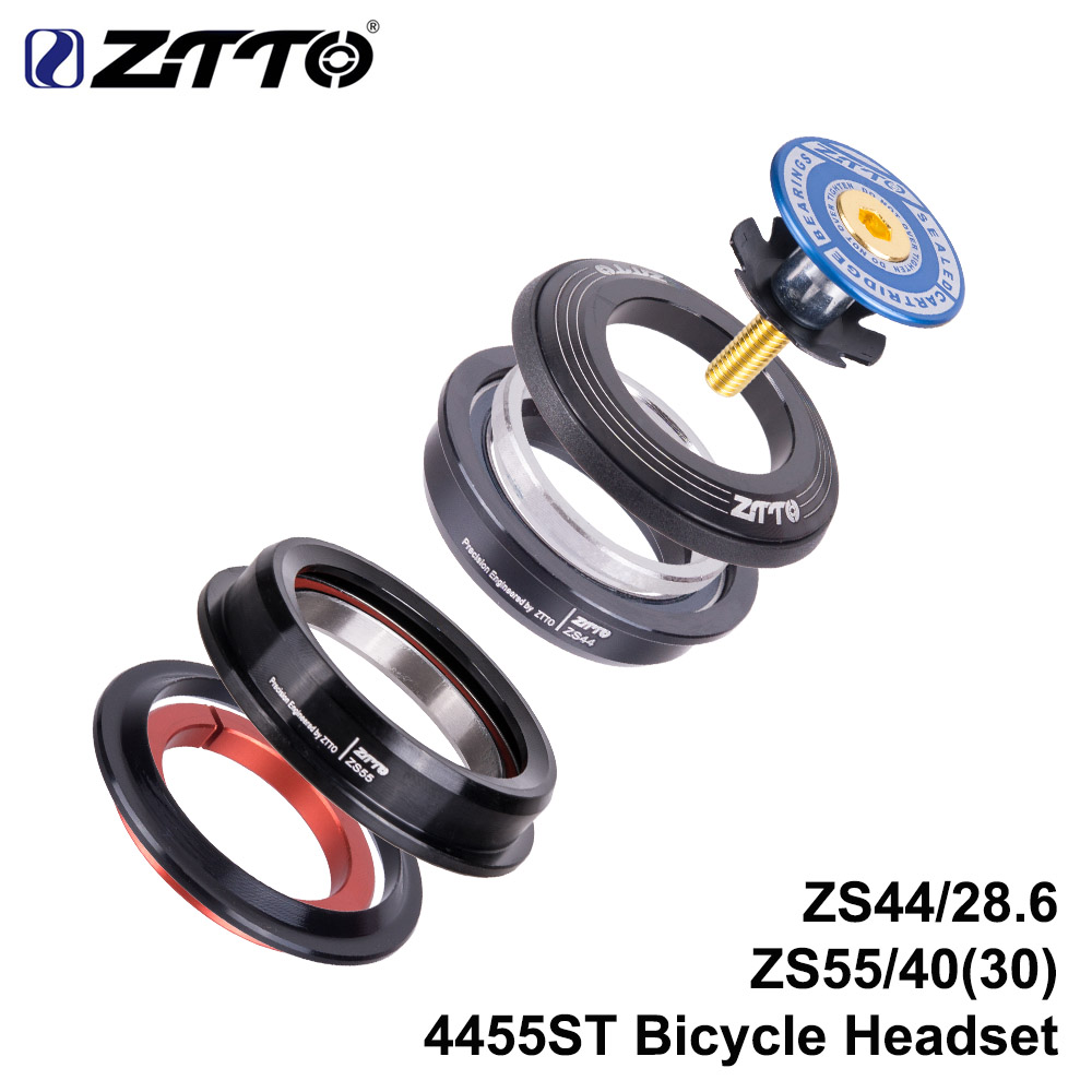 ZTTO 4455ST MTB Headset ZS44 ZS55 Tapered Straight Universal 1.5 inch 28.6mm Fork Zero Stack Integrated With Cups road bike