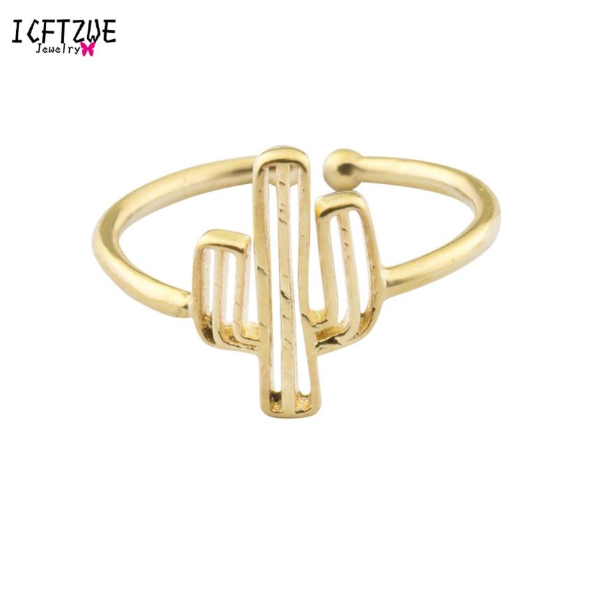 ICFTZWE kaktusový prsten pánské minimalistické prsteny anel zlaté barvy prstů pro ženy zednářské šperky Anelli Donna družička dárek