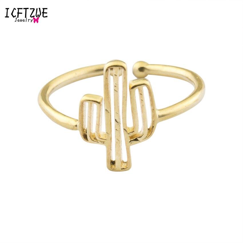 ICFTZWE Cactus Ring Ανδρικά Μινιμαλιστικό Ανέλ Χρυσό Χρώμα Toe Δαχτυλίδια Για Γυναίκες Μασονικά Κοσμήματα Anelli Donna Παράνυμφος Δώρο