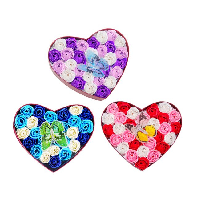 Romantische Valentinstag 26 Teile/schachtel Rose Blumen Seife Bade Mit  Geschenkkasten Für Immer Liebe Kreative