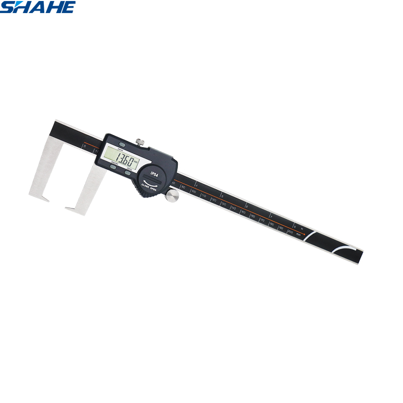 shahe 0 200 mm Digital Outside Groove Caliper with Flat Points stainless steel electronic digital vernier