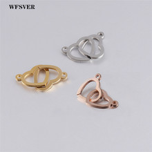 WFSVER 5pcs/lot 12*20mm double heart charms pendant for women making bracelet necklace stainless steel accessories jewelry