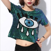 2016 New Crop Tops Loose Short Tops Sequins Big Eyes Sexy Sequined Casual Sport Tops Pole