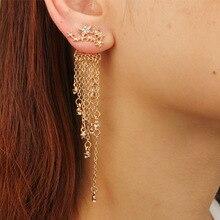 Women Gold Color Crystal Long Metal Tassel Earrings Star Streamlined Female Bridal Wedding Jewelry Drop Earrings gold color with green gray pink tassel drop earrings