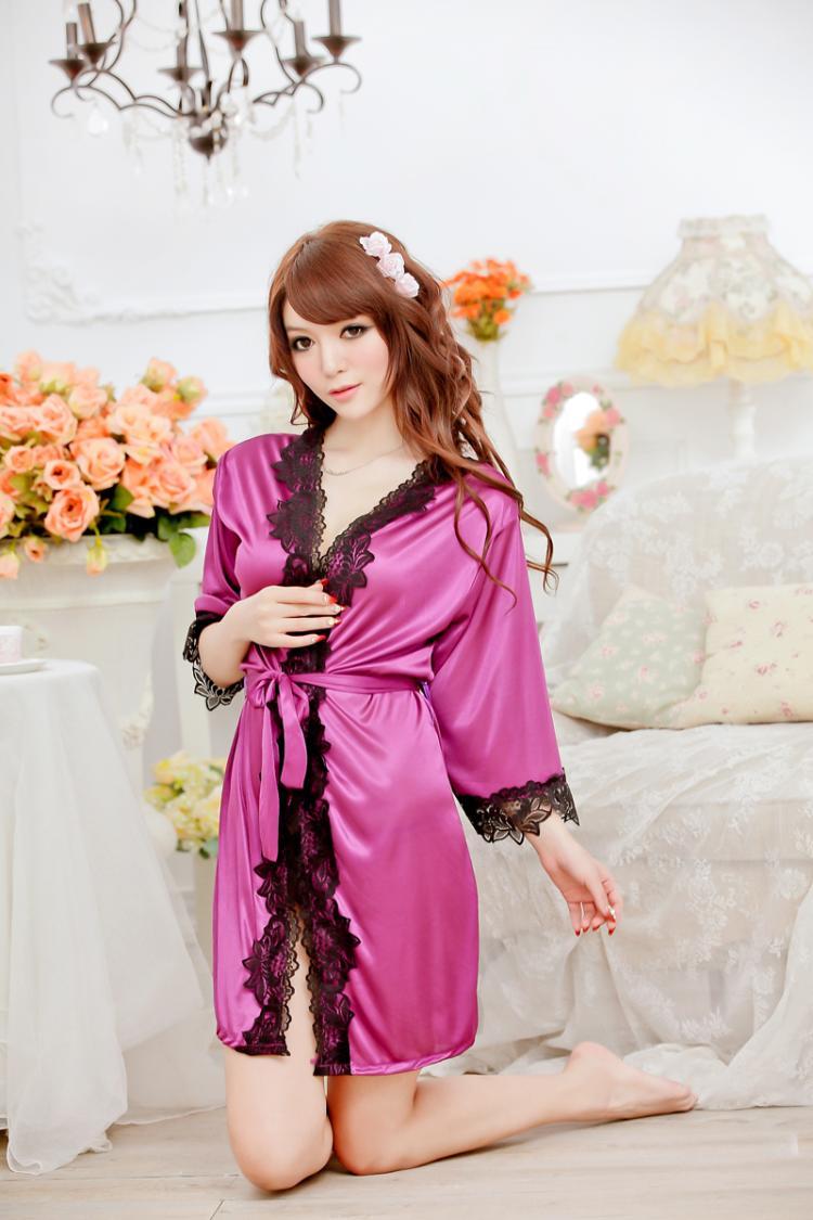 Female Sexy lingerie Women Dress V-neck Bathrobe Rayon Silk sex Sleepwear Pajamas Nightdress Robes kimono Women erotic lingerie