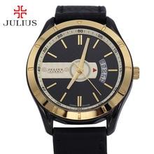Julius Homme Hommes de Montre Japon Quartz Heures Horloge De Mode Robe Bracelet En Cuir Garçon D'anniversaire De Noël Valentine Cadeau Boîte 084