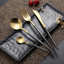 Gorąca sprzedaż 4 sztuk/zestaw Black Gold europejskiej nóż zestaw obiadowy 304 zachodniej sztućce ze stali nierdzewnej naczynia kuchenne żywności obiad