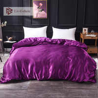 Liv-Esthete 2019 Luxury Satin Silk Purple Bedding Sets Silky 1pcs Duvet Cover Set Bed Set Single Double Queen King Quilt Cover