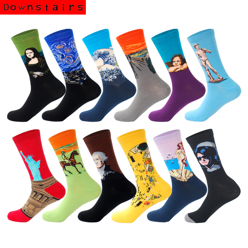 Abajo 12 par/lote calcetines Para Hombres estilo británico Streetwear a rayas Hip Hop personalizado Crew Happy Socks Regalos Para Hombre