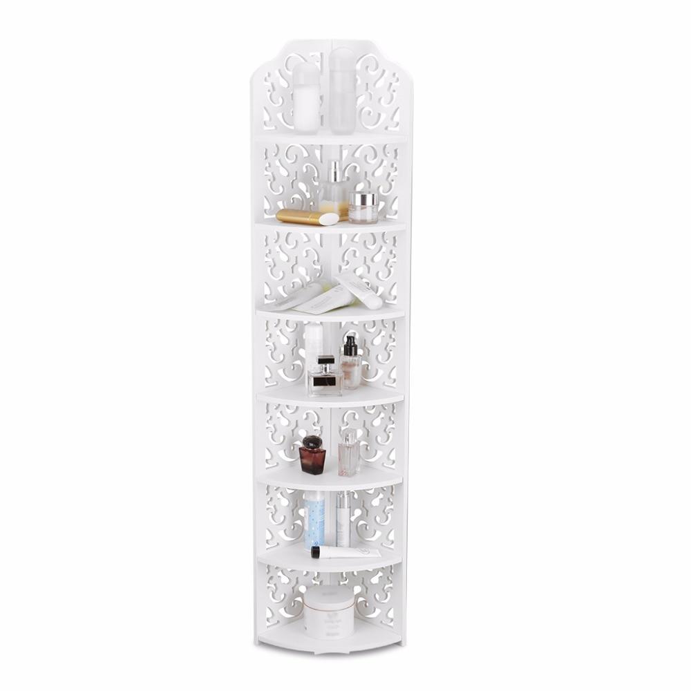 7-Tier Wooden Corner Shelf Unit Home Storage Shelves Organizer Display Rack US