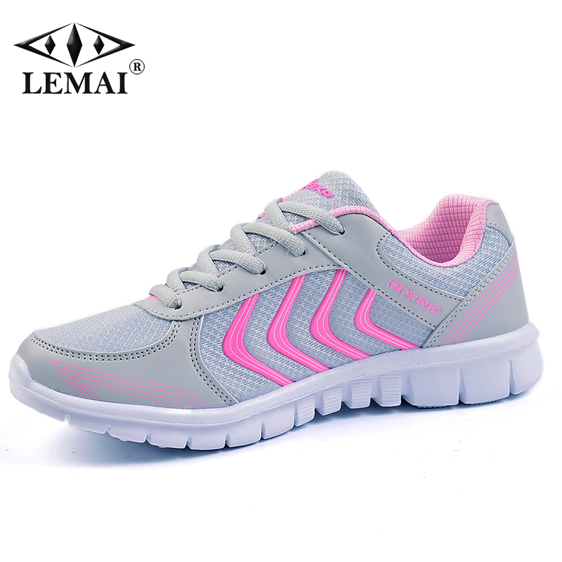 Strips Women Running Shoes Spring Sport Lady Pink New Athletic Sneakers Outdoor Breathable Trainers 40 size