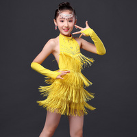 2016 New Summer Children Latin Dance Skirt Young Children Dance Costume Contest Costumes Girls Tassel