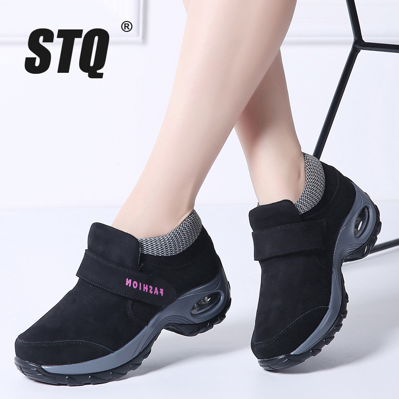 STQ Snow-Boots Platform Women Shoes Warm High-Wedge Female Black Hiking Waterproof Winter