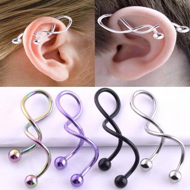 2 Pcs Lot Stainless Steel Ear Spiral Taper Gauge Plug Stretching Expander Piercing