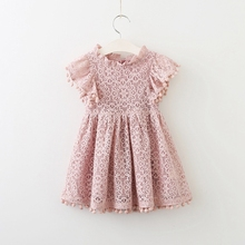 Summer GIRLS FLOWER LACE POMPOM SOLID FLUTTER light blue dusty mustard baby girls dress
