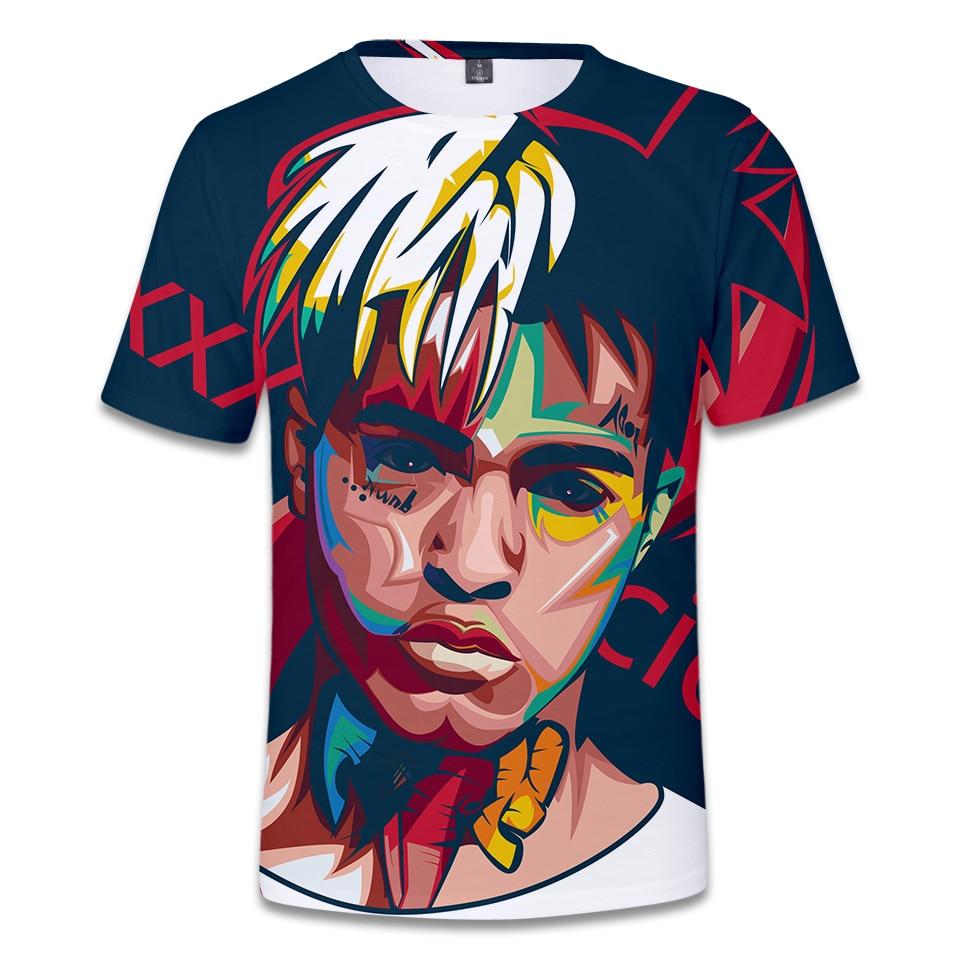 New Xxxtentacion 3D Printing T-shirt Men Hip hop American rapper Sweat-absorbent Breathable Short-sleeved T-shirt Loose O-neck