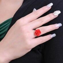 Boeycjr vermelho rosa flor anéis moda jóias cinnabar escultura do vintage anéis para as mulheres de noivado presente de natal anillo anneau