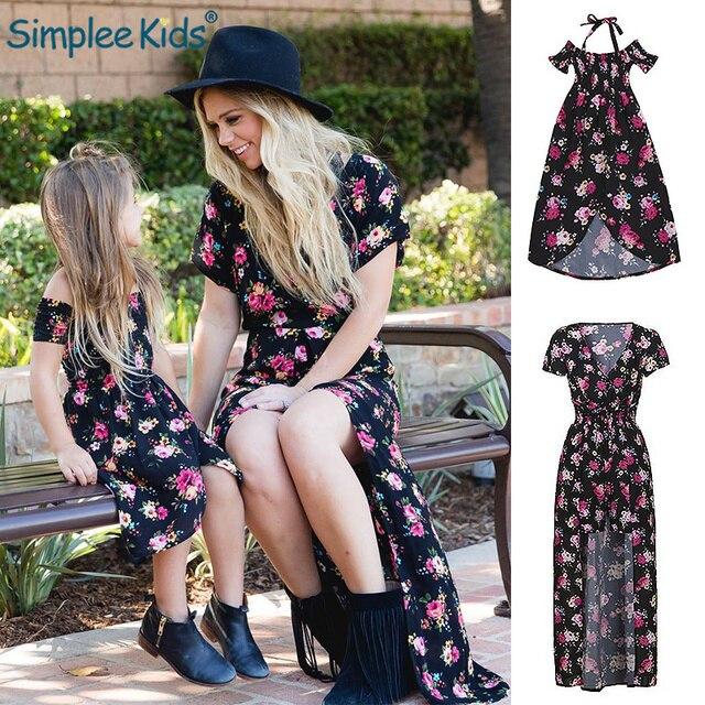 Mom Me Baby Girls Kids Floral Off Shoulder Strap Love Family Matching Dress Sundress Clothes Mother Daughter Children Clothing