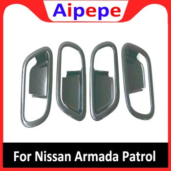 For Nissan Armada Patrol Royale Nismo Infiniti QX56 QX80 Y62 2016 to 2020 ABS Car Inner Interior Door Handle Bowl Cover Trim image