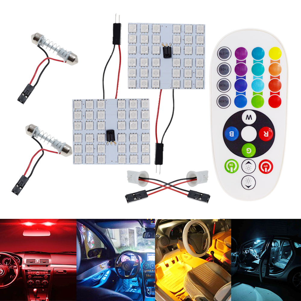 2X T10 12SMD 15Smd 24smd 36SMD Remote Control Rgb Auto Led Panel Auto Lights Reading Dome Festoon Door Light BA9S Adapter DC 12V