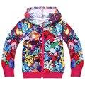 Pokemon meninos e meninas vão Moana zipado Hoodies Moletons 2016 Primavera Outono Jaqueta casaco de Inverno Quente meninas roupa dos miúdos