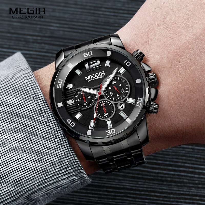 <font><b>MEGIR</b></font> Chronograph Timer Fashion Watch Men Quartz-watch Luminous Calendar Date Stainless Steel Mens Watches Top Brand Luxury <font><b>2068</b></font> image
