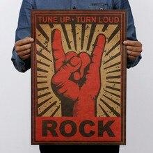 Papel kraft clásico con gesto de Keep On Rock, cartel de película clásico, decoración escolar, decoración de garaje, decoración de pared, arte Retro, impresiones escolares