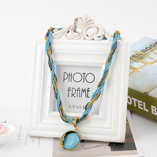 European and American popular Bohemian m glass bead weaving circular pendant ladies fashion necklace