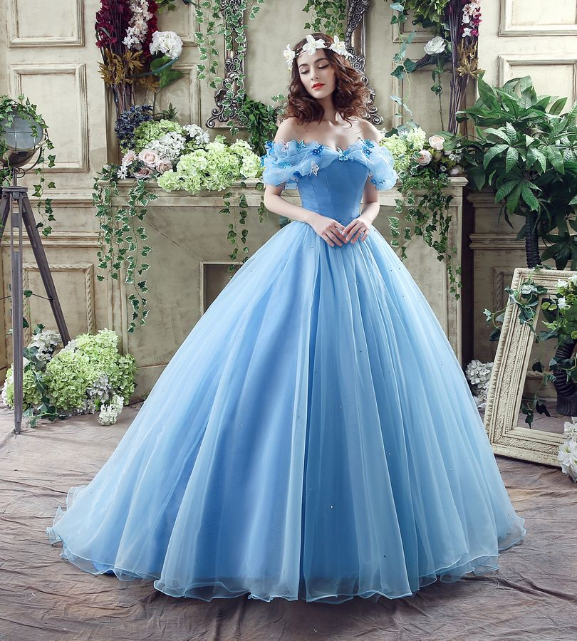 In Stock Blue Butterfly cospaly Cinderella dress Prom Ball ...