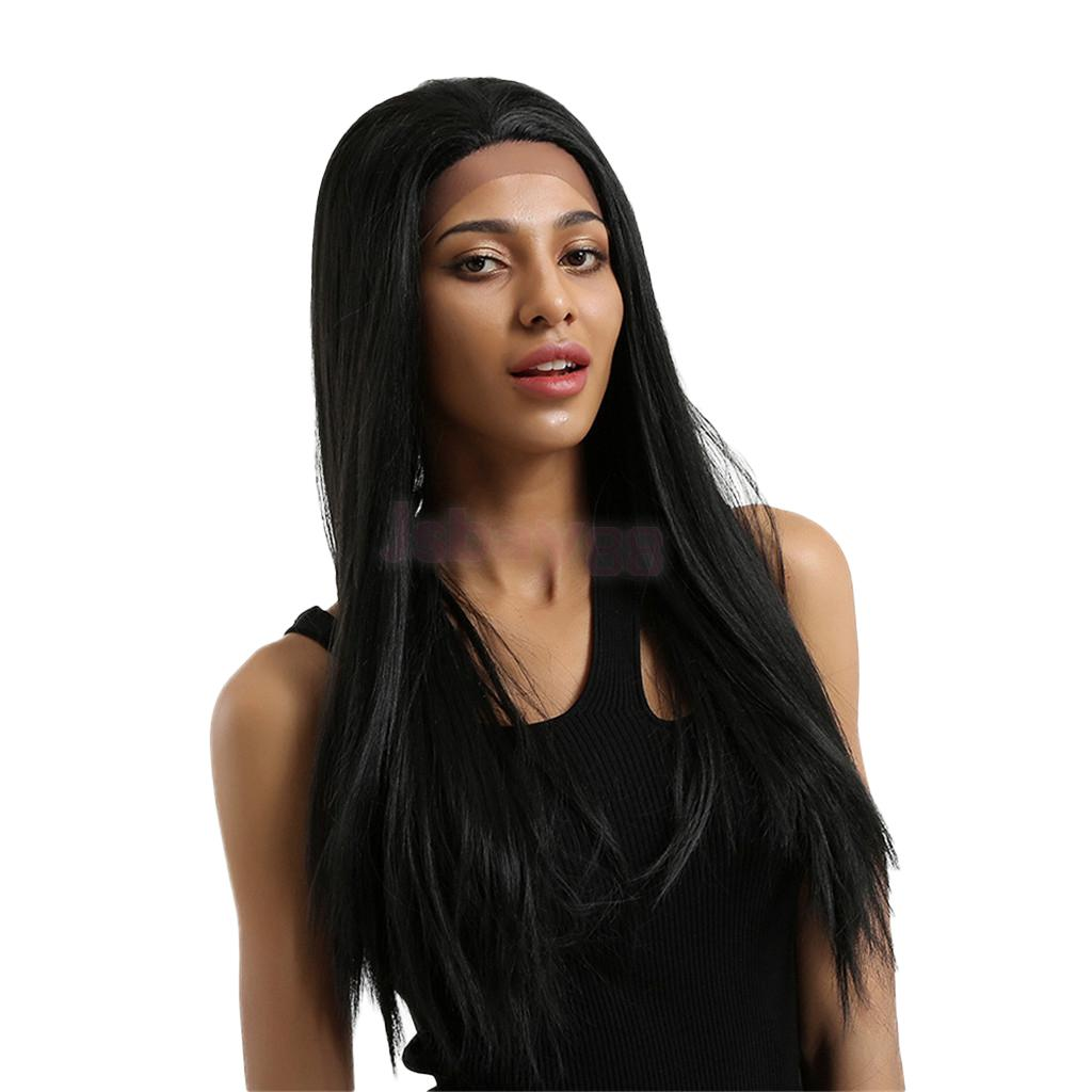 Natural Synthetic Black Long Thick Straight Lace Front Wigs Full Cosplay Wig