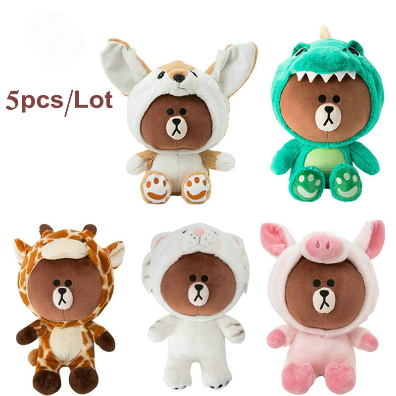 5pcs/set 23cm dressing cosplay Korean brown Teddy bear dinosaur tiger fox series stuffed toys for childrens birthday presents5pcs/set 23cm dressing cosplay Korean brown Teddy bear dinosaur tiger fox series stuffed toys for childrens birthday presents