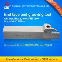 الفضة تحول أدوات الحز القاطع QFKD2525L22 60H مع إدراج ZTKD0608 MG|turning tool|grooving turning toolsgrooving tool -