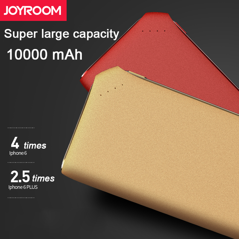 Joyroom Power bank 10000 mAh Double USB Output Portable Ultra Light Thin Battery Bank Micro USB Type C DC Input