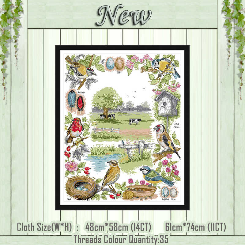 The ecology of birds scenery diy painting counted printed on the canvas DMC 11CT 14CT kit Cross Stitch embroidery needlework Set