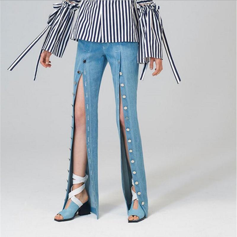 IFQ 2017 Denim High Split Trousers For Women Jeans High Waist Vintage Plus Size Wide Leg Female Pants Jeans Fashion New autumn slim fit plus size wide leg jeans high waist boyfriends wide legs jean vintage pants denim trousers pearl blue jeans