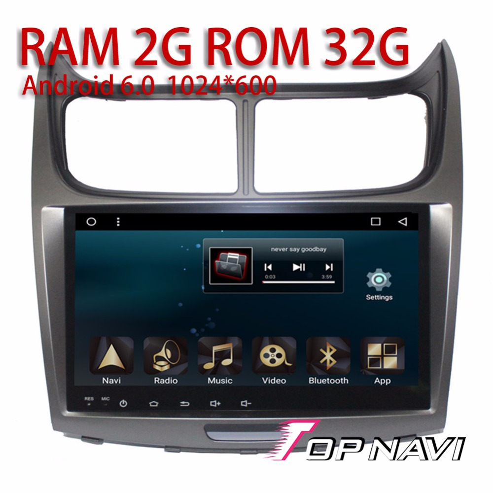 Android 6.0 Car Video 9'' Players for CHEVROLET SAIL 2010 2014 Topnavi Auto Media with TV GPS Radio Antenna support Full RCA